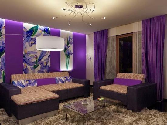 Dekorasi Ruang Tamu Sempit Minimalis Dengan Tema Cat Modern Populer Purple Bedroom Decor Purple Living Room Colourful Living Room