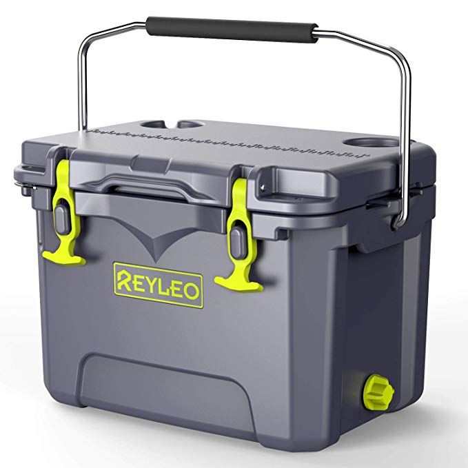 Reyleo Cooler 21 Quart 20l Rotomolded Cooler 30 Can Capacity 3 Day Ice Retention Heavy Duty Ice Chest Built In Bottle Ope Cooler Ice Chest Camping Coolers