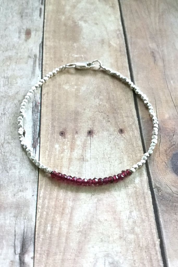Genuine Garnet Bracelet, Hill Tribe Silver Jewelry, January Birthstone Bracelet