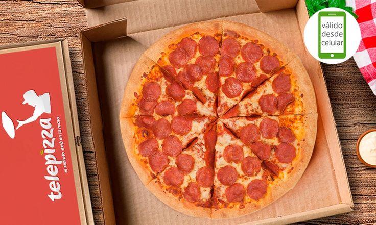 Pizza familiar American Pepperoni o de 3 ingredientes a elección + pan de ajo en Telepizza