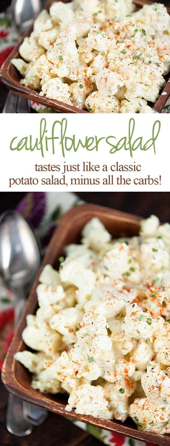 mock potato salad recipe--This cauliflower potato salad is a great low carb alternative to a classic potato salad. The texture of the cauliflower is just a bit different from potatoes, but the flavor is spot on! Even carb lovers will love this cauliflower salad!