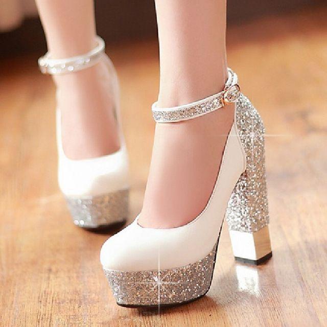 2016 talón grueso talones ultra altos solos zapatos novia hermosa boda bombas atractivas