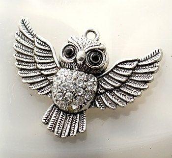 1pc--Pendants, Owl, antique silver, 51x41x12mm