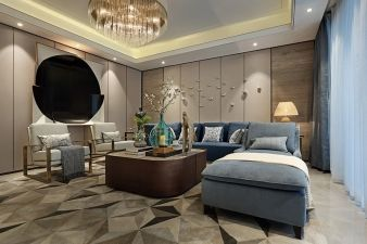 A rug with an interesting pattern, large chandelier and wall art add to the lounge