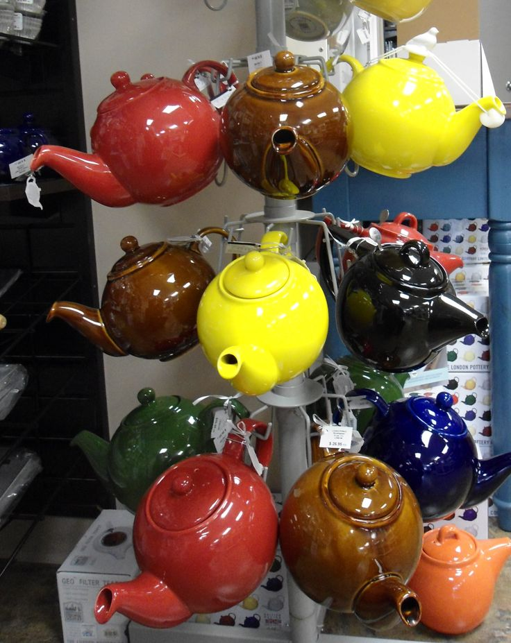 colourful teapots at the Culinary Poet