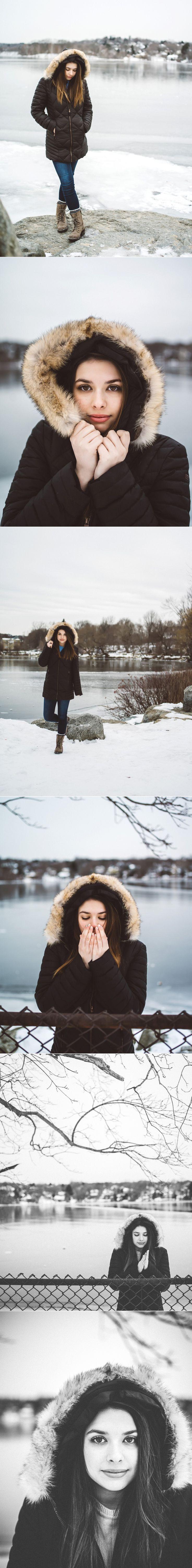 Snowy High School Senior Portraits | Posing and Styles in Fur Winter Coat | Elizabeth Clark Photography, Boston MA