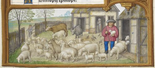 Detail of a bas-de-page scene of animals being let out to graze, Add MS 35313, f. 3r