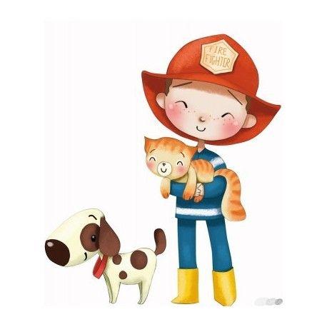 Le sticker pompier créé par Emmanuelle Colin sera un beau décor pour la chambre d'un petit garçon qui aime l'univers des pompiers. Il pourra ainsi se raconter plein d'histoires de sauvetages avant de s'endormir !