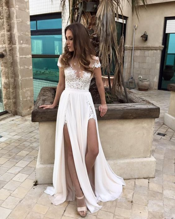 Charming Prom Dress,High Quality Prom Dress,High Slit Prom Dress,White Chiffon Prom Dresses,Formal Evening Dress