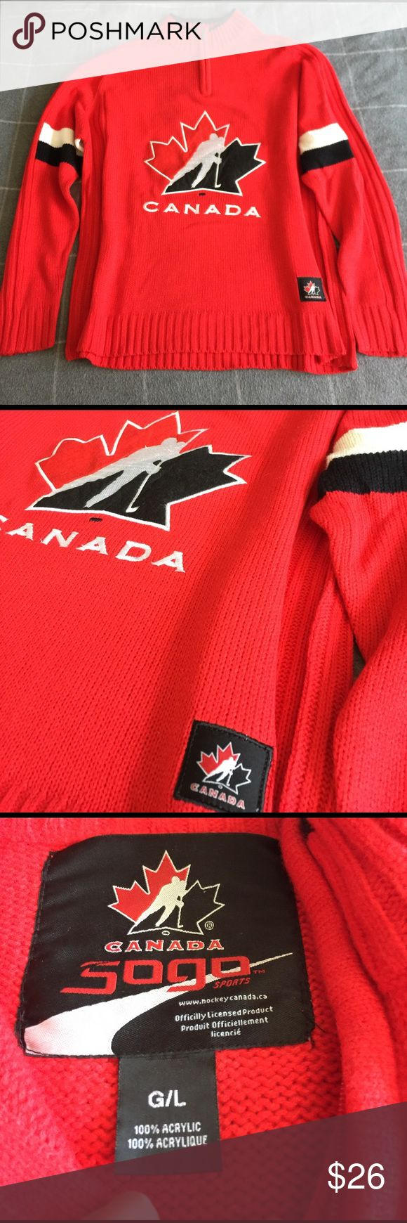 Red Zipper Neck Canada Hockey Sweater Excellent condition, worn one time, Ribbed GoGo Sports Sweaters Zip Up