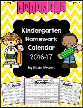 As per customer request these monthly homework charts are now editable. You can even save the information you entered (just save under another file name). The calendars is customized for the 2016-17 school year (August through June), and include activities for each weekday, all of them aligned with Kindergarten Common Core.