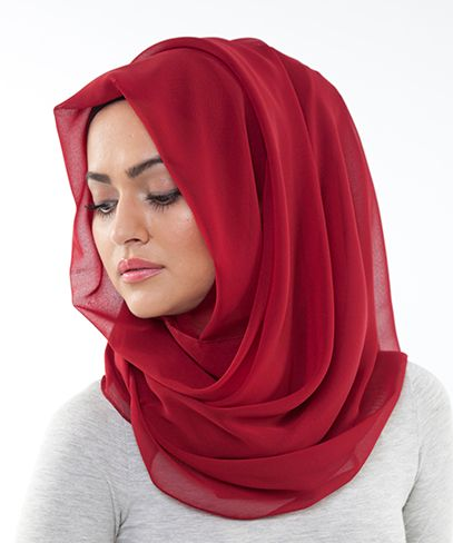 Loosely draped hijab style using INAYAHS Deep Red Soft Georgette Hijab! www.inayahcollection.com