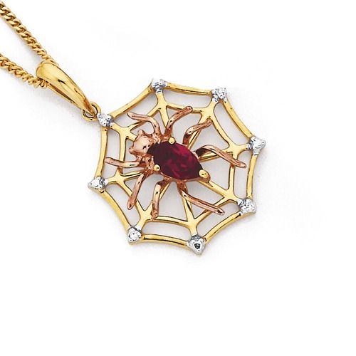 9ct Diamond & Synthetic Ruby Spider & Web Pendant | Goldmark Australia