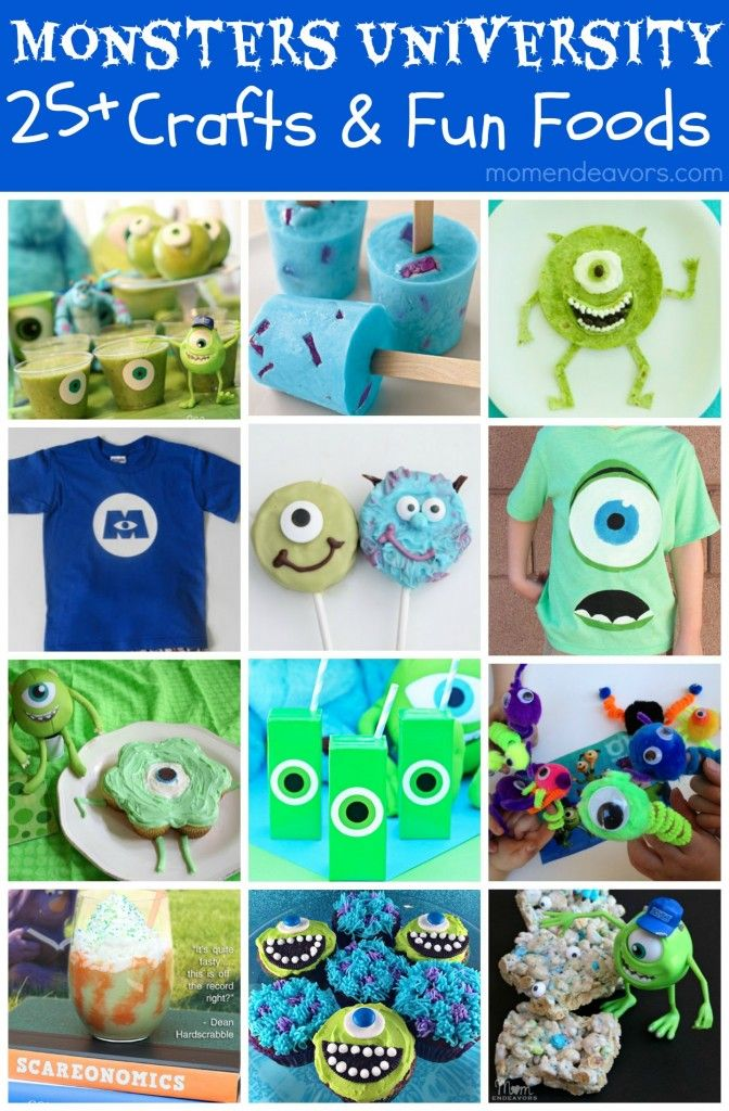 Monsters University Crafts & Fun Foods. Great for a #DisneySide Monsters, Inc. Party!