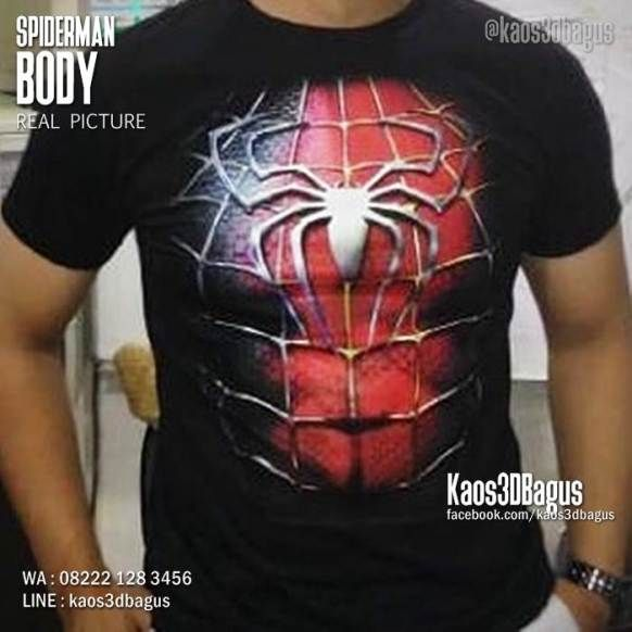 Kaos SPIDERMAN BODY, Kaos3D, Kaos Superhero, https://kaos3dbagus.wordpress.com, WA : 08222 128 3456, LINE : Kaos3DBagus