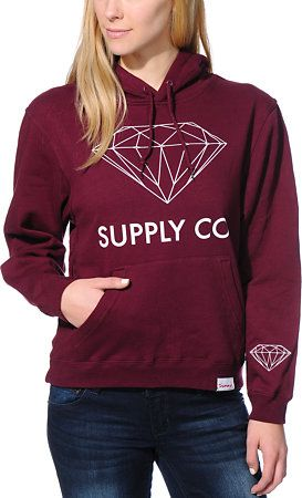 Diamond Supply Co. Girls Supply Co Dark Red Pullover Hoodie at Zumiez : PDP