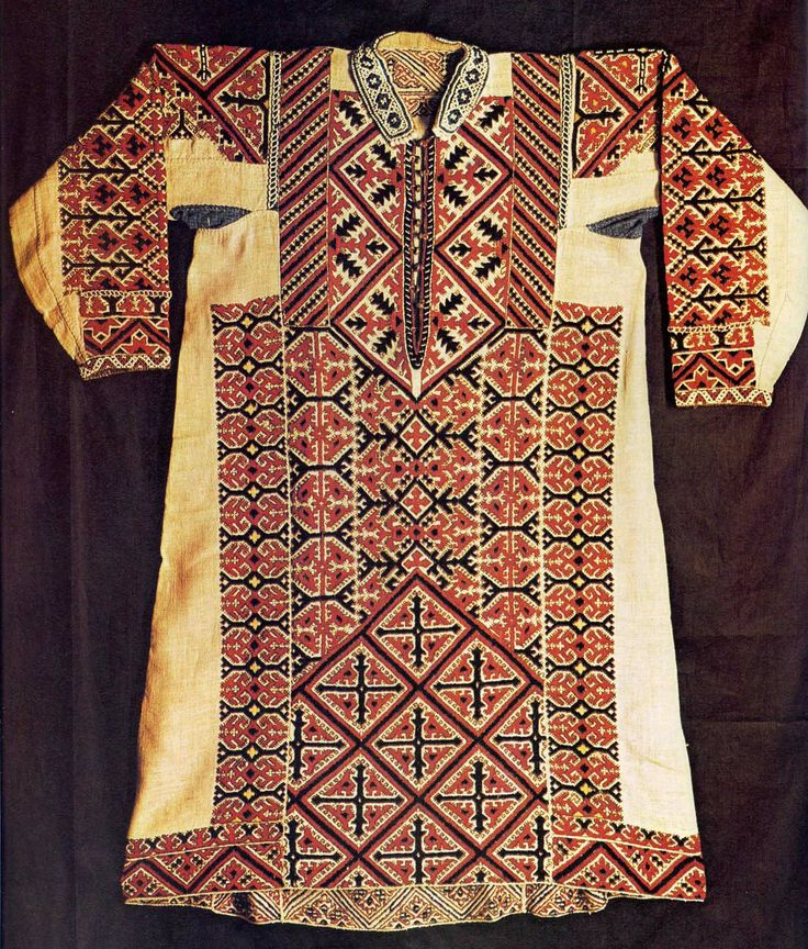 Embroidered linen shirt, produced in Western Siberia.