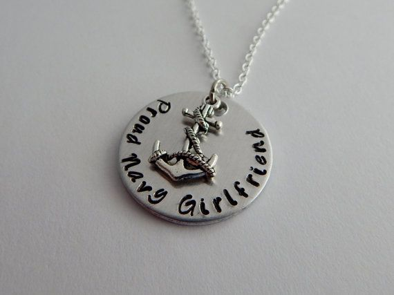 Proud Navy Girlfriend / Hand Stamped Necklace / by kimgilbert3