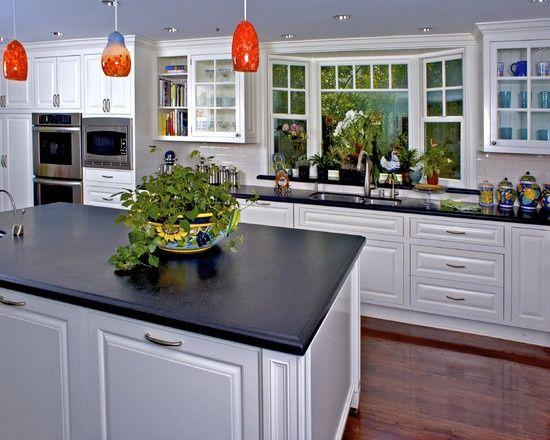 Bay Window Kitchen Sink White Cabinets Dark Countertops Wooden Flooring Ceiling Colour