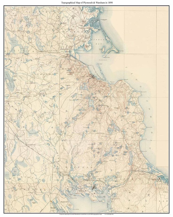 "Plymouth & Wareham 1890 Map USGS Composite Old Map reprint - Bourne Sagamore Wareham Plymouth Carver Kingston Plympton (Cape Cod Regions). This old ""topo"" map is a composite made from several separate USGS topographical maps. We stitched the maps together to make one nice wall map. On this print we see Plymouth & Wareham and the area that will become the Cape Cod Canal. This map covers the towns of Bourne, Wareham, Plymouth, Carver, Kingston, Plympton, Halifax, Duxbury and parts of…"
