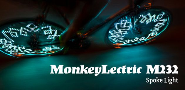 http://www.bellsandwhistles.co.nz/collections/monkeylectric/products/monkeylectric-m232-light MonkeyLectric M232 Bicycle Spoke Light. This top selling bike light includes 42 wicked themes and 32 ultra bright full colour LEDs (16 on each side), providing front, rear and side visibility at any speed. #spokelight #monkeylectric #bicyclelight #bikelight