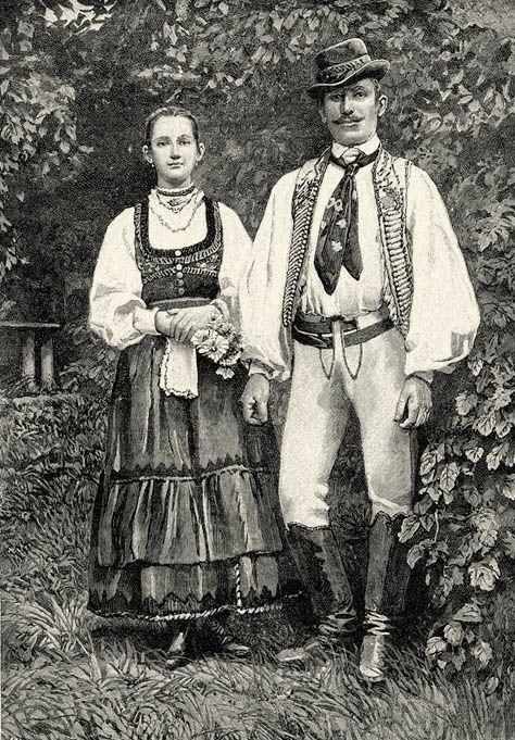 "old hungarian folk costume in ""Székelyföld"" today Romania, Székely mátkapár"