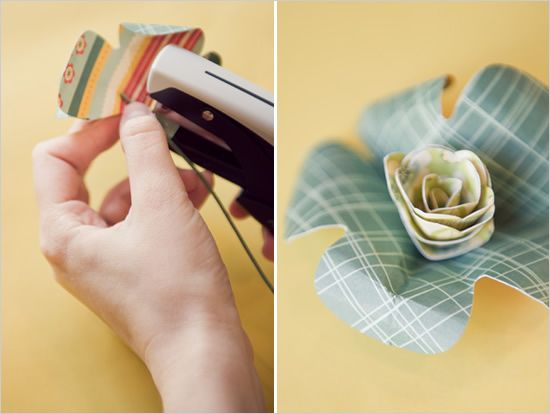 How to attach floristry wire to paper flowers - use a staple or floristry tape (or a dollop of hot glue).