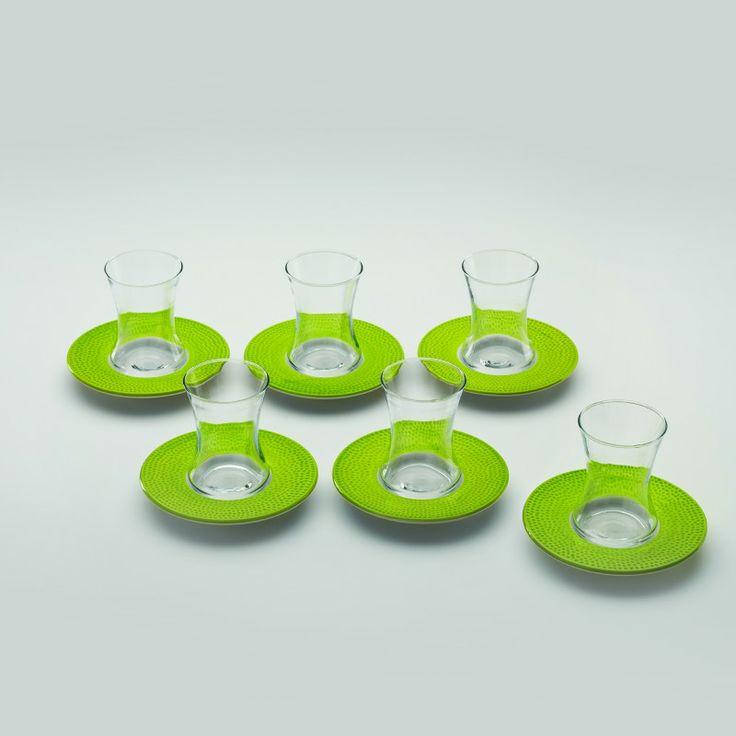 Karaca 6 Lı Boğaz Keyfi çay Bardak Takımı Yeşil