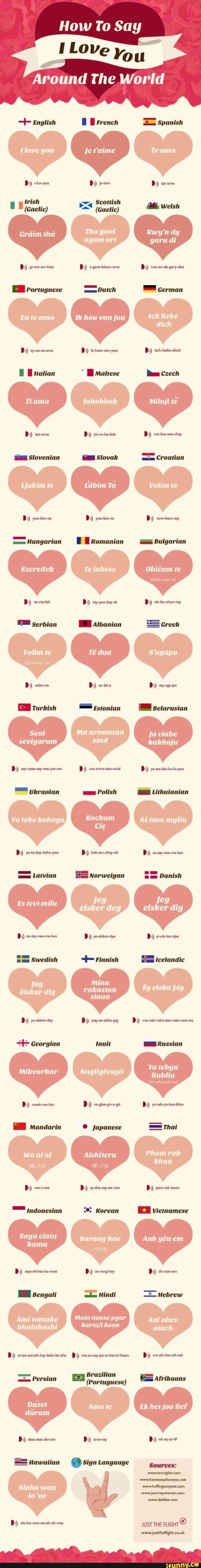how to say love in different languages list