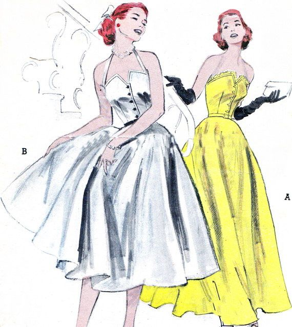 1950s Evening Dress Pattern Butterick 6001 Bell by paneenjerez, $125.00