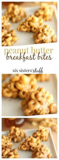 Peanut Butter Breakfast Bites from Six Sisters' Stuff | Make up a quick batch of these on Sundays and eat them all week for a quick and delicious breakfast, snack or even dessert! (snacks recipes mornings)