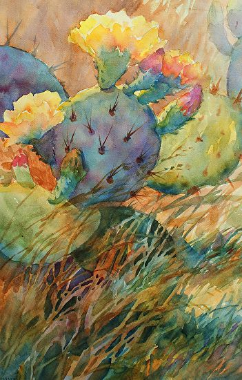CACTUS MELLOW MORNING_ Mary Shepard original Watercolor_ 21 x 14 image size_ Prickly pear cactus painted in bright hues. www,maryshepard.com