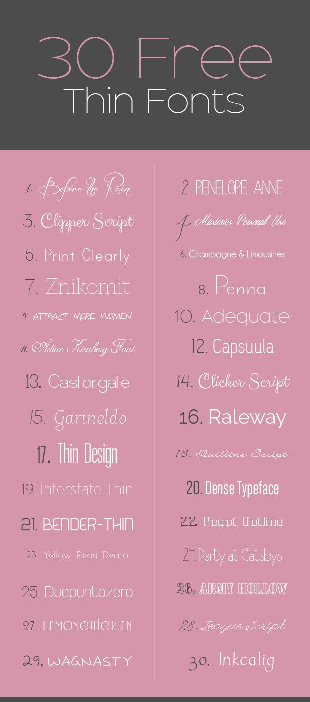 30 Free Thin Fonts >> Design Float ~~ {w/ easy download links}