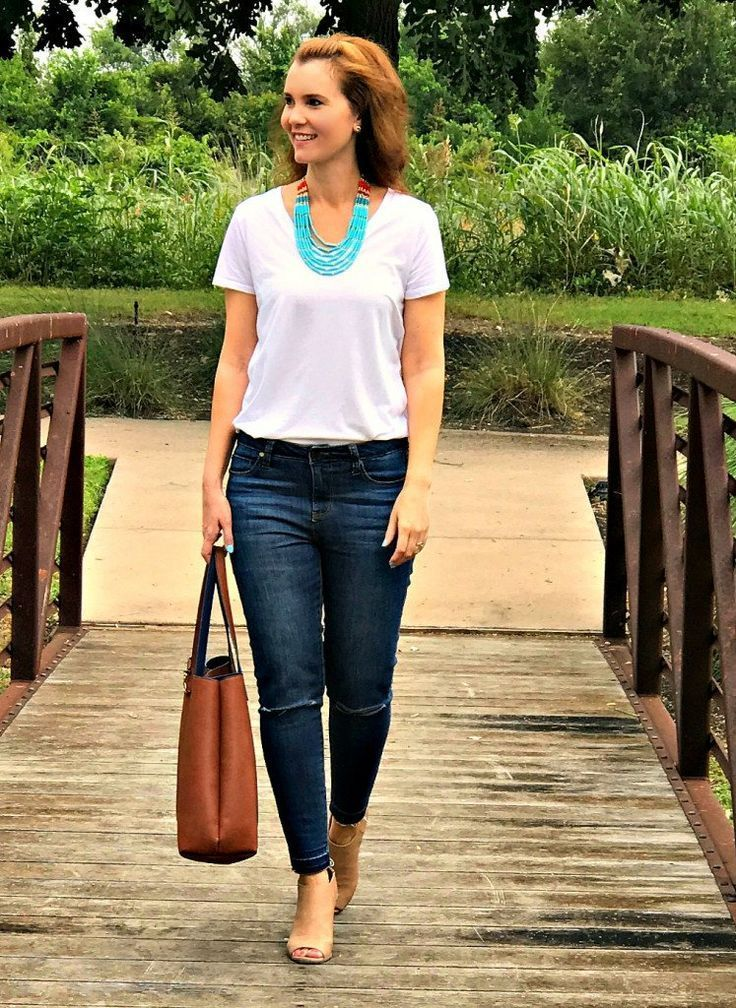 What does it take to dress up a white t-shirt and jeans? Not much! Turn these basics into a cute and stylish outfit in no time with some fun accessories and shoes you love.
