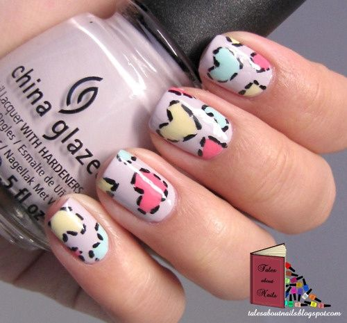 patchwork hearts nails –  hearts in pink,  mint, and yellow over lilac (purple) nail art design – cute for Valentine's Day