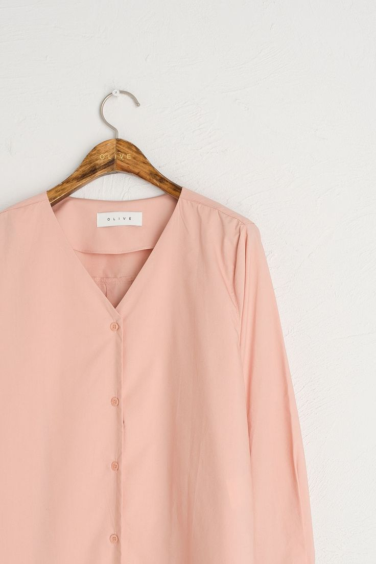 Wide Cuff V Neck Shirt, Pink
