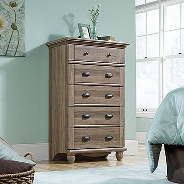 Harbor View collection 5-drawer chest from Sauder Furniture in Salt Oak  finish. http