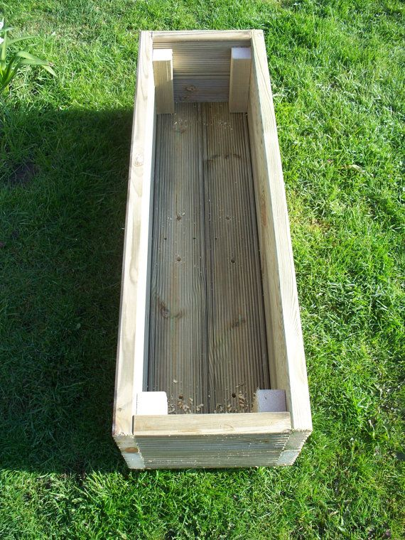 Large handmade wooden garden decking planters,  Made from extra thick 32mm pressure treated tanalised timber The corner are fixed using 2.5 inch, 6.35mm decking screws drainage holes are drilled in the base for drainage  the planters are; small 800mm long, 282mm high and 314mm wide approx medium 1000mm long, 282mm high and 314mm wide approx Large 1200mm long, 282mm high and 314mm wide approx.  The bases are also made from 32mm decking, not plywood. These are strong boxes that will last many…
