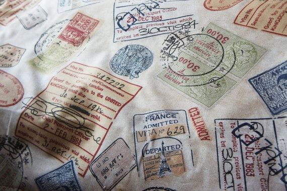 1 Yard Home Decor Fabric Vintage Passport Stamp Print By