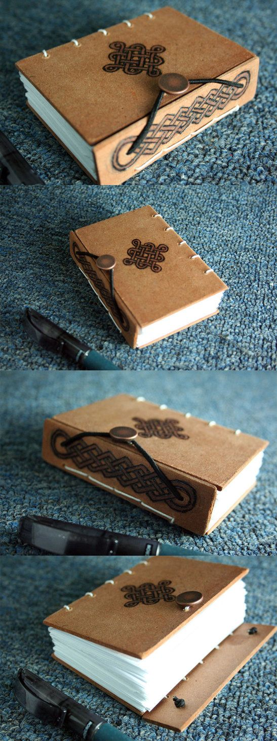 Wooden Celtic Book by ~yagarasu on deviantART. Made with the coptic technique. 1/8 letter size. Hard covers made of MDF. Woodburned with celtic designs, just like it's box. It closes up with a cooper button and some elastic.