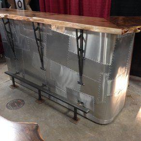 Patchwork Aluminum Faced Bar With Live Edge Walnut Slab Topu2026