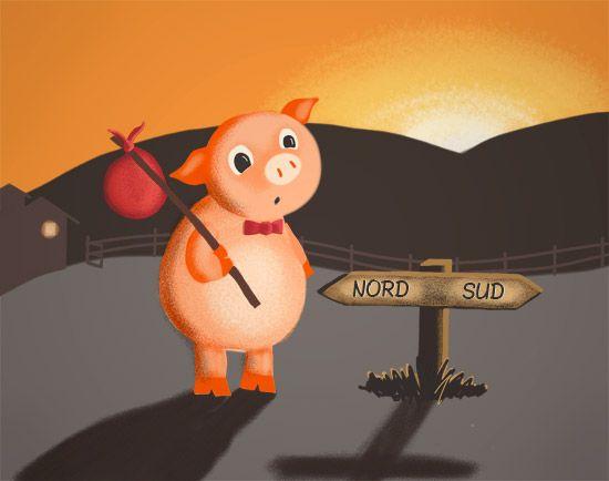 I Tre Porcellini - The Three Little Pigs in Italian