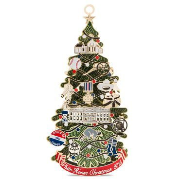 The 2015 White House Christmas ornament honors the administration of Calvin Coolidge, who served as the thirtieth president of the United States from 1923 to 1929. A depiction of the first National Christmas tree crafted from shiny brass plated with nickel and 24k gold is illuminated from within and hung ...