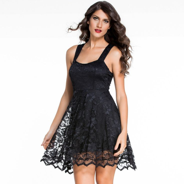 click to buy womens dresses summer vin e sleeveless all black lace