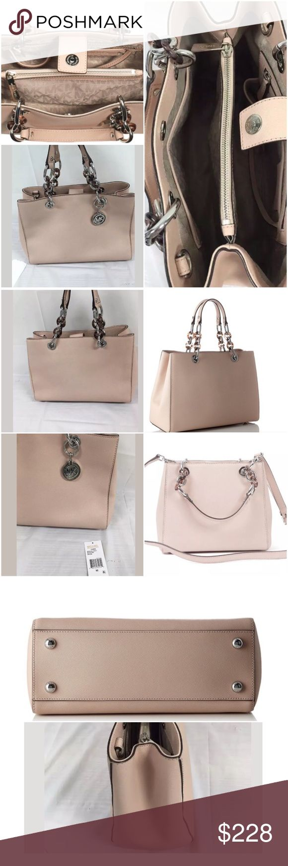 💝MK Cynthia Saffiano leather~Ballet Authenic Brand new, removable strap for crossbody. Medium size. Beautifully ballet color with silver hard wear. Lower in 🅿️🅿️ Michael Kors Bags Satchels