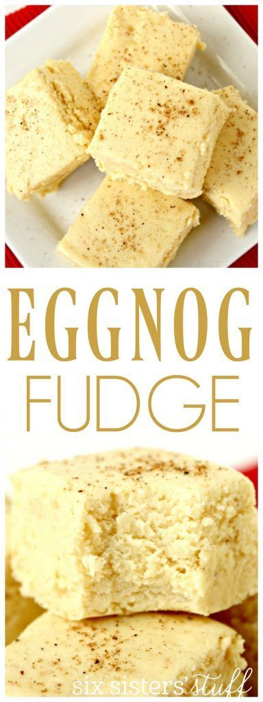Easy Eggnog Fudge from Sixsistersstuff.com | This recipe is so simple and delicious for a holiday party treat!