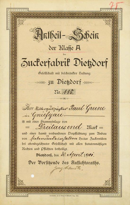 HWPH AG - Historische Wertpapiere - Zuckerfabrik Dietzdorf GmbH Dietzdorf, 30.04.1901, Antheil-Schein Klasse A über 3.000 Mark, später auf 1.500 GM umgestellt