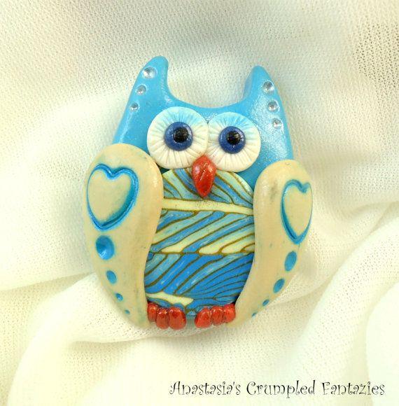 Blue beige owl brooch Polymer clay bird pin by CrumpledFantazies