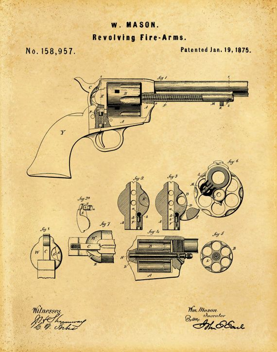 Patent 1875 Colt 45 Revolver Peacemaker by BlueMoonPatentPrints