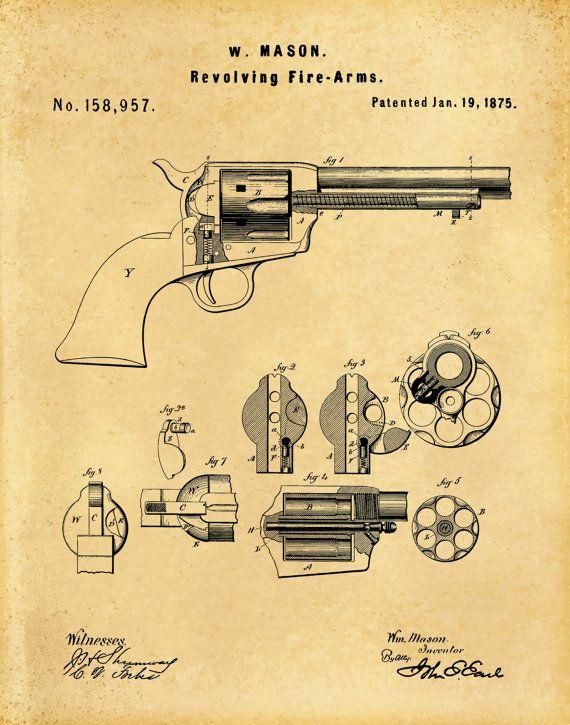 Patent 1875 Colt 45 Revolver Peacemaker by BlueMoonPatentPrints